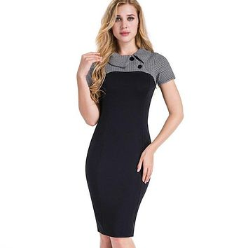 Elegant Vintage Fitted winter dress full Sleeve Patchwork Turn-down Collar Button Business Sheath Pencil Dress