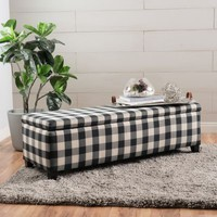 Gable Black Checkerboard Fabric Storage Ottoman