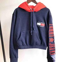 TOMMY Autumn And Winter New Fashion Embroidery Letter Keep Warm Thick Hooded Long Sleeve Sweater Top Women Navy Blue