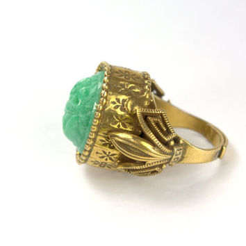 Statement Egyptian Revival Solid Brass Jade Glass Cocktail Dinner Ring Costume Jewelry Jewellery