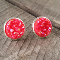 Druzy earrings-  Coral red drusy silver tone stud druzy earrings