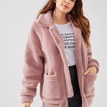 Teddy Oversized Jacket- Rose