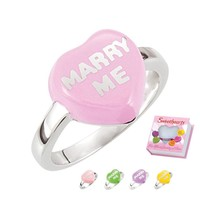 "Sweethearts® Sterling Silver & Enamel ""Marry Me"" Heart Ring - Various Colors"