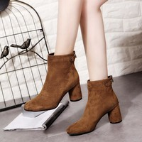 Buttons Back Zipper Pointed Toe Middle Block Heel Ankle Martin Boots