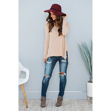 Sweetest Devotion Long Sleeve Top (Taupe)