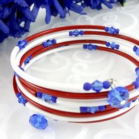 Patriotic memory wire bracelet, Red White & Blue memory wire bracelet, 4th of July bracelet,