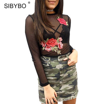 Sibybo 2017 Summer Mesh Top Women O Neck Long Sleeve Blouses Harajuku T Shirt Sexy Black Embroidery Floral Femme Tee Shirt Tops