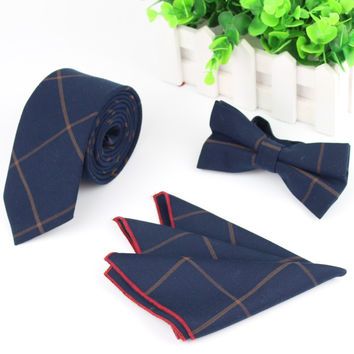 Mens Designer Fabric Of Business Suit Striped Skinny Pocket Square Handkerchief  Butterfly Bow Tie Ties Set Lots