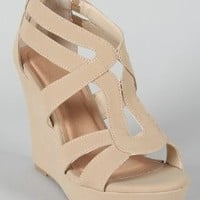 Women's Strappy Open Toe Platform Wedge,10 B(M) US,Beige