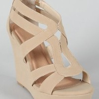 Strappy Open Toe Platform Wedge,Lindy-03 Beige 10