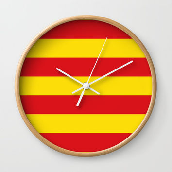 senyera catalunya-catalunya,cataluna,catalonha,espanya,iberica,Barcelona Wall Clock by oldking