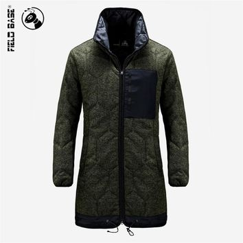 Field Base 2017 Winter Long Jacket Men Fashion Brand Parkas Men Clothing Zipper Thick warm Coat Men Plus Size SWL60603A
