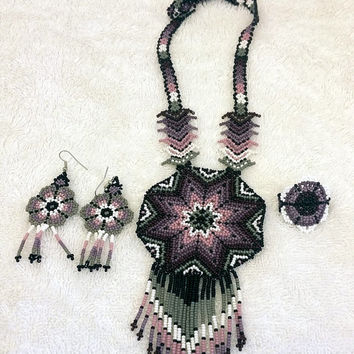 Huichol jewelry set - Peyote Flower - Necklace, Earrings & Ring Mexican Handmade   - unique jewelry set