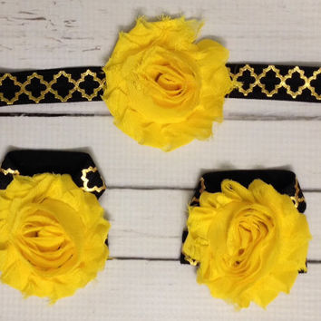 25% OFF all orders Baby Barefoot Sandal Headband Set... Black Yellow Gold Headband Set