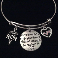 Cute Enough to Stop Your Heart Expandable Charm Bracelet Silver Adjustable Bangle Gift Medical RN Heartbeat Pulse