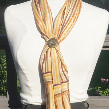 Vintage ECHO Scarf,Vintage Silk Scarf,47 x 11 Oblong Scarf,Orange Yellow Brown Earthtones,Long Silk Headscarf,Striped Scarf,Signed Scarf