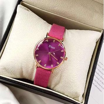DIOR Women Fashion New More Color Quartz Watches Wrist Leisure Watch Rose red