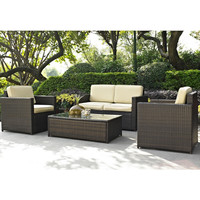 4 Piece Outdoor Wicker Resin Patio Furniture Set with Cushions