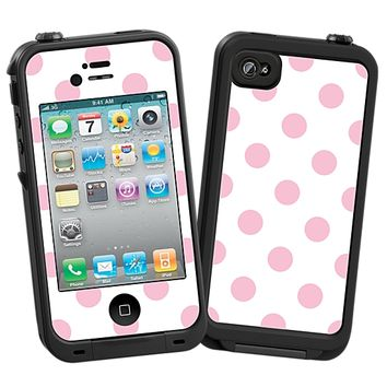Baby Pink Polka Dot on White Skin  for the iPhone 4/4S Lifeproof Case by skinzy.com