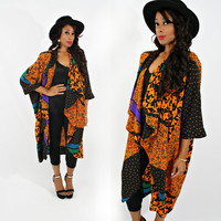 vintage 80s slouchy ABSTRACT oversized floral BATWING cocoon duster jacket