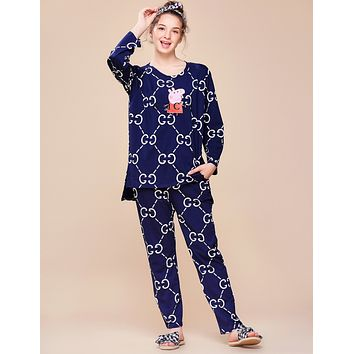 GUCCI x Peppa Pig co-branded women's autumn and winter models long-sleeved pajamas two-piece F0877-1 Royal blue