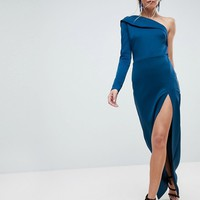 ASOS One Shoulder Long Sleeve Thigh Split Maxi Dress at asos.com