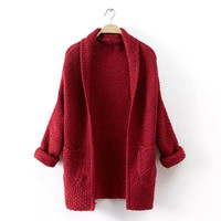 Red None-Button Sleeve Knitted Coat With Pocket