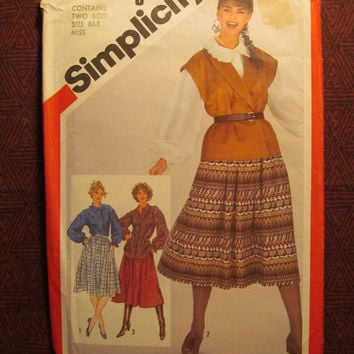 SALE Uncut 1980's Simplicity Sewing Pattern, 5328! 6-8 Small/Women's/Misses/Flared Skirts/Below the Knee Skirts/Loose Fitting Blouses/Tunic/