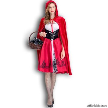 New Little Red Riding Hood Costume Queen Dress Halloween Cosplay Uniform Adult Cosplay Costume party