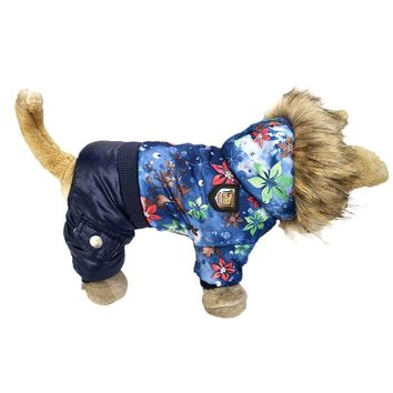 Flower Pattern Pet Dog Clothes Warm Jacket Coat For Small Dogs Windbreaker Dog Coat Thicker Cotton Hooded Coat For Chihuahua
