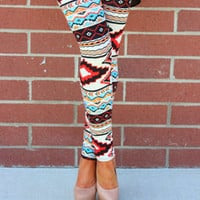 Aztec Red Leggings - Modern Vintage Boutique