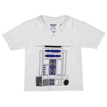 Star Wars I Am R2-D2 Droid Costume Licensed Kid's Youth Polo Shirt - White