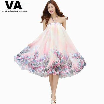 VA 2017 Summer Big Plus Size Women Clothing Bohemian Floral Print Beach Chiffon Floor Long Maxi Skirts Of Tulle Saia Faldas P001