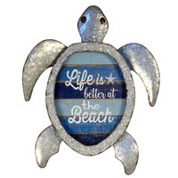 Life Is Better At The Beach Metal Sea Turtle with LED Lights
