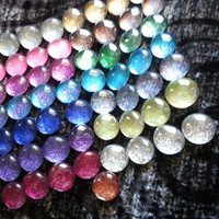 Glitter Glass Marble Magnets or Thumbtacks - set of 12
