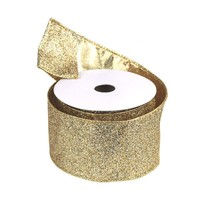 Metallic Glitter Wired Christmas Ribbon, Gold/Silver, 2-1/2-Inch, 10 Yards
