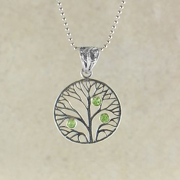 Tree of Life Sterling Silver Necklace - Peridot