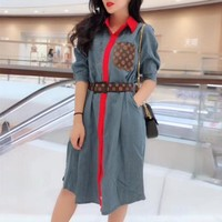 """Louis Vutitton"" Women Retro Casual Fashion Multicolor Pocket Middle Sleeve Buttons Cardigan Lapel Shirt Denim Dress"
