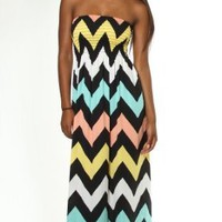 Woman Junior Size Chevron Zig-Zag Print Stretch Smock Top Strapless Maxi Dress