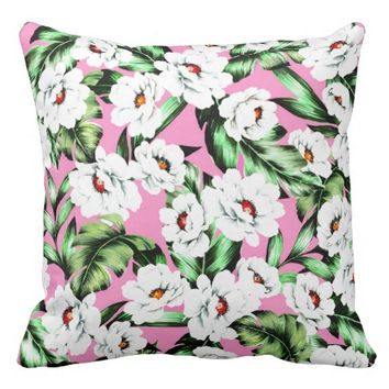 Cute Modern Spring Flower Pattern Girly Floral Throw Pillow