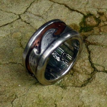 An OrganicWedding Ring   Silver Copper Wedding Band Rustic Wedding Ring  Handmade  Metalwork Ring