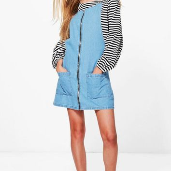 Laura Zip Through Patch Pocket Denim Pinafore Dress | Boohoo