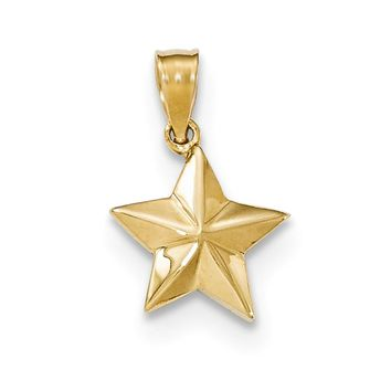 14k Yellow Gold Small Polished Nautical Star Pendant, 12mm (7/16 inch)