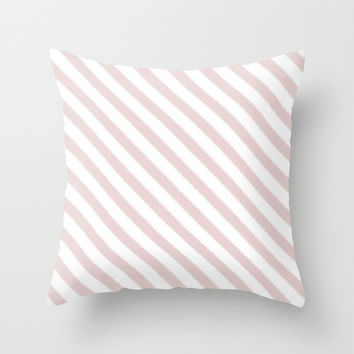 Pink Pillow - Velveteen Pillow - Pale Pink - Striped Pillow - Teen Pillow - Girls Pillow - Dorm Pillow - Teen Decor - Girls Decor - Pink