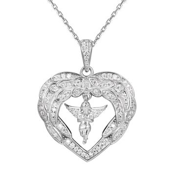 Heart with Angel Wings Sterling Silver Pendant Valentine's