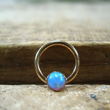 Septum & Nipple Ring Gold MMS26 Fire Opal