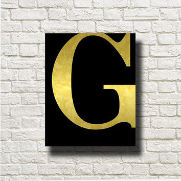 G Letter Gold Black Printable Instant Download Print Wall Art Print Poster  Home Decor GN57b