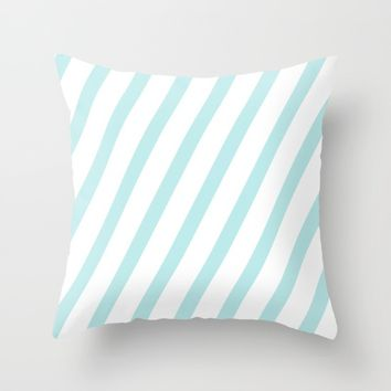 Diagonal stripes - turquoise fresh summer pattern Throw Pillow by Simplicity Of Life
