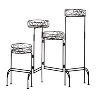 Gifts & Decor 4-Tier Metal Plant Stand Shelf Foldable Screen, Black