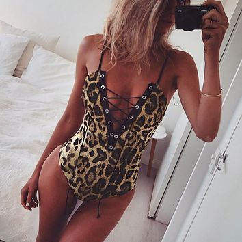 Leopard Print Backless Off Shoulder Strappy  Shapewear Romper Jumpsuit Shapewear
